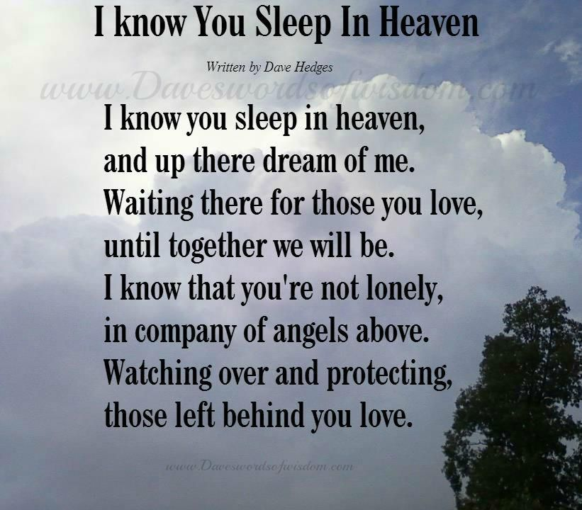 I Know You Sleep In Heaven Quote My Jacob