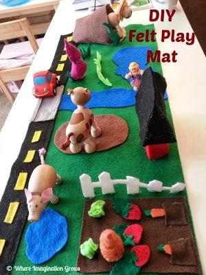 Diy Felt Play Mats Farm Grassland Pretend Play Felt Play Mat Felt Diy Play Mat