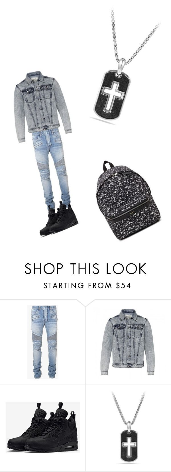 """""""Untitled #30"""" by candyvmo ❤ liked on Polyvore featuring Balmain, NIKE, David Yurman, Yves Saint Laurent, mens, men, men's wear, mens wear, male and mens clothing"""