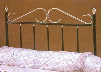 Full Size Black And Brass Headboard This Elegant Black Full Size Tubular Metal Headboard Adds A Touch Of S Brass Headboard Metal Headboard Full Size Headboard