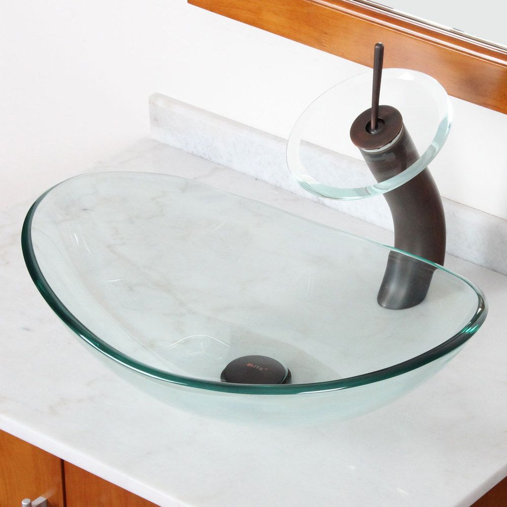 Elite Tempered Bathroom Oval Glass Vessel Sink/ Faucet Combo |  Overstock.com Shopping