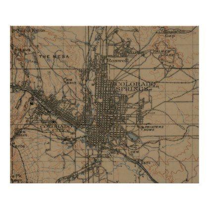 #vintage - #Vintage Map of Colorado Springs CO (1907) Poster