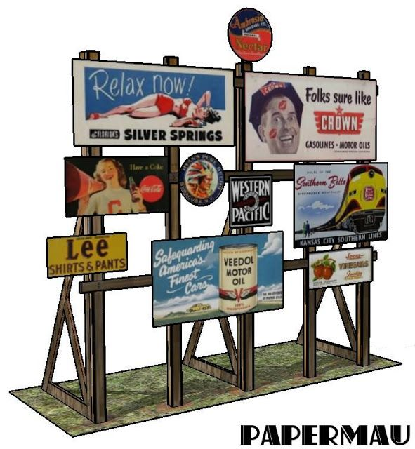 PAPERMAU: Vintage Style Billboard Paper Model For Dioramas