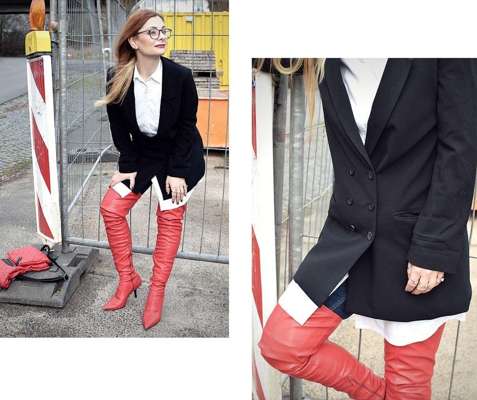 So trägst Du rote Overknees / Streetstyle Look mit roten