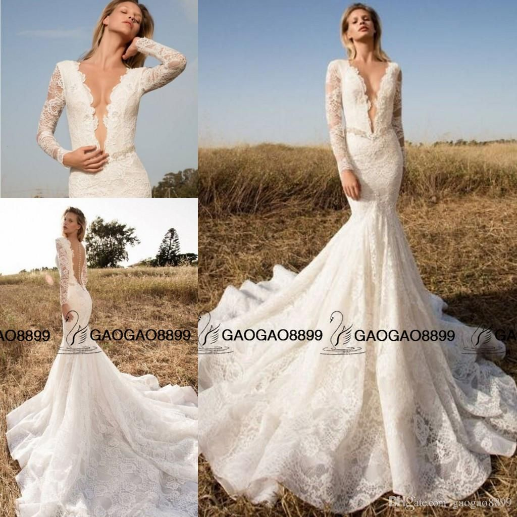 Galia Lahav 2016 New Design Fully Lace V Neck Country Long