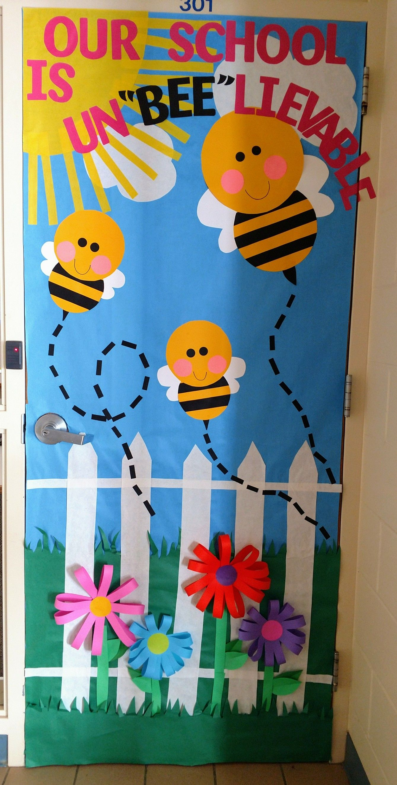 I just finished the elementary office door at school for spring
