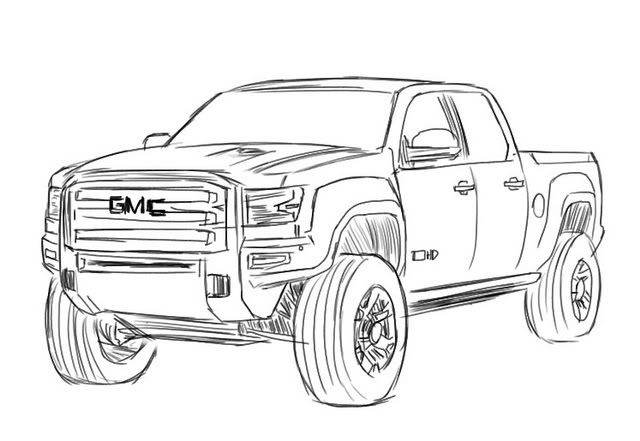 Gmc sierra drawing pencil drawings pinterest draw for Gmc coloring pages