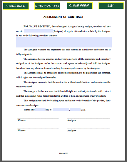 Assignment Of Contract Free Fillable Pdf Forms Contract Template Assignments Templates