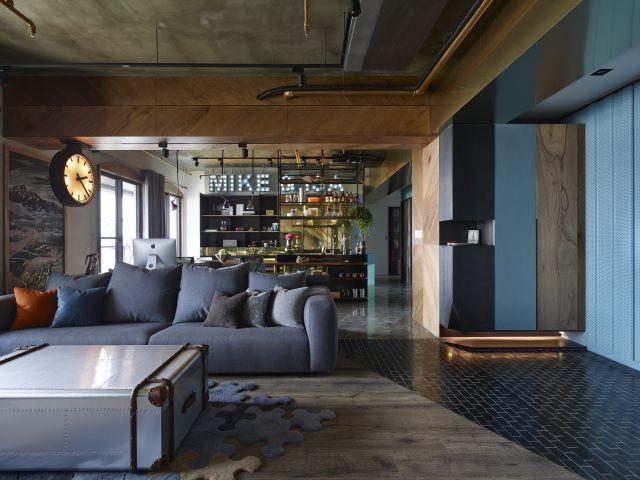 Apartamento estilo industrial sala integrada taipei for Paredes estilo industrial