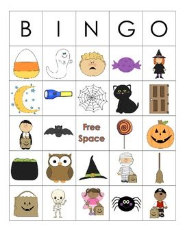 halloween themed language activities for preschoolkindergarten - Preschool Halloween Bingo