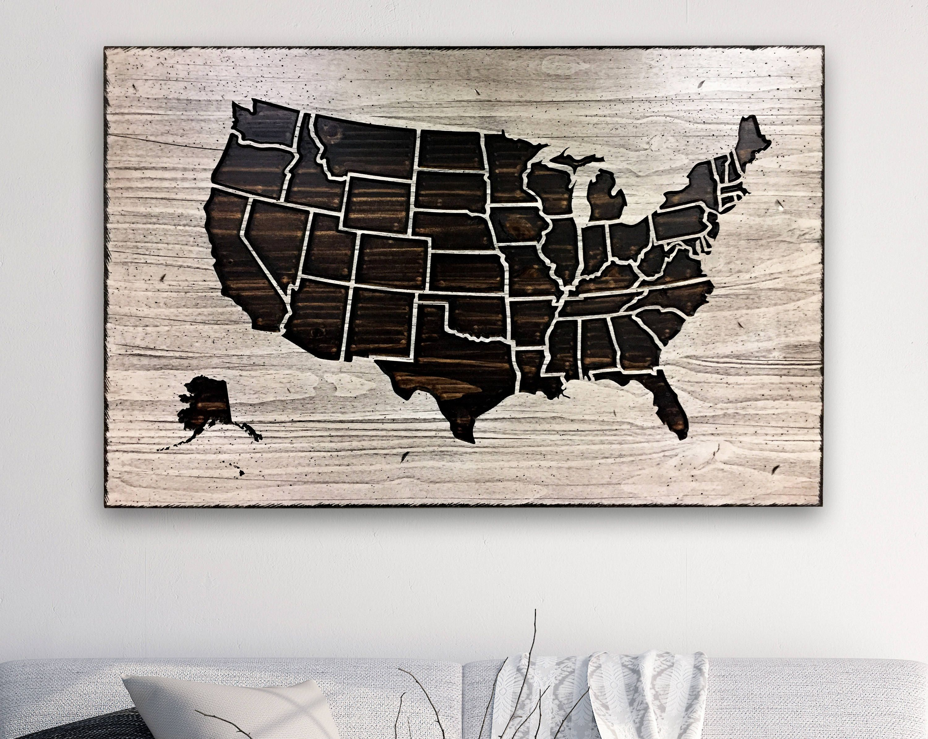 Carved Us Map Us Map Picture Map Of United States Wood Wall Etsy State Map Wall Art Map Wall Art Map Pictures