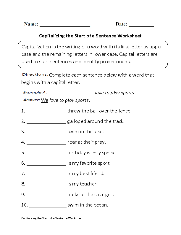 Capitalizing Start of Sentence Capitalization Worksheet Part 1 – Capitalization Worksheets 4th Grade