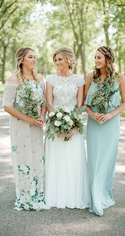 Mint Green And Floral Pattern Bridesmaids' Dresses The Wedding Classy Floral Pattern Bridesmaid Dresses