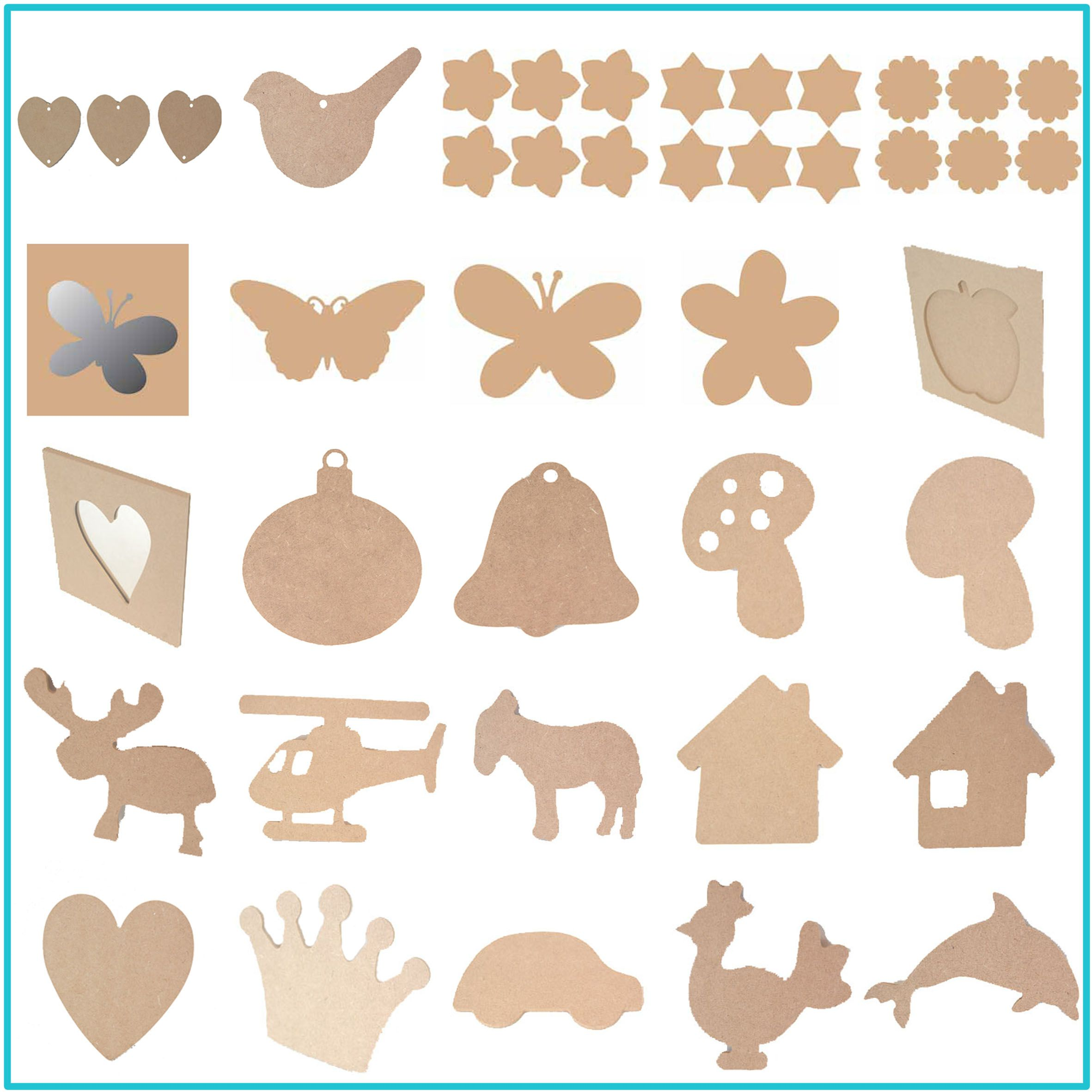 Painted wooden shapes for crafts - Lots Of Wood Shapes Ready To Paint Decoupage Or Embellish
