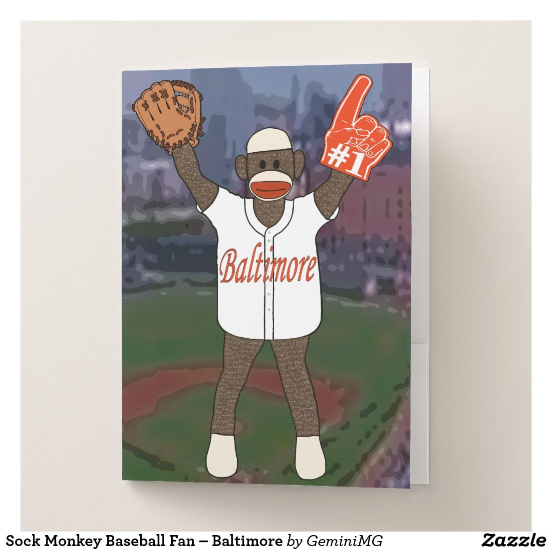 Sock Monkey Baseball Fan – Baltimore Pocket Folder | Zazzle.com #sockmoneky