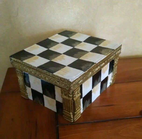 Whimsical Courtly Parchment checkerboard check storage box Adult or Childs room & Whimsical Courtly Parchment checkerboard check storage box Adult or ...