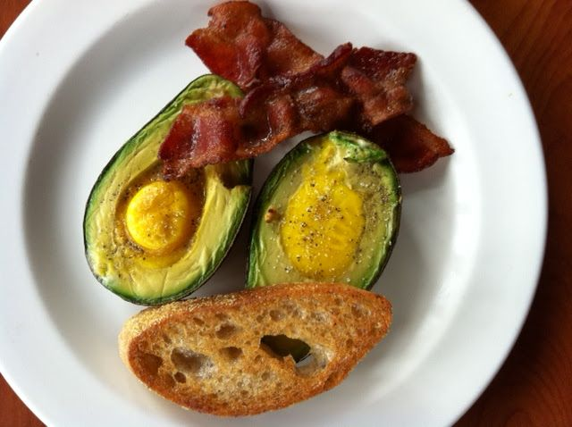 Baked eggs in avocados!