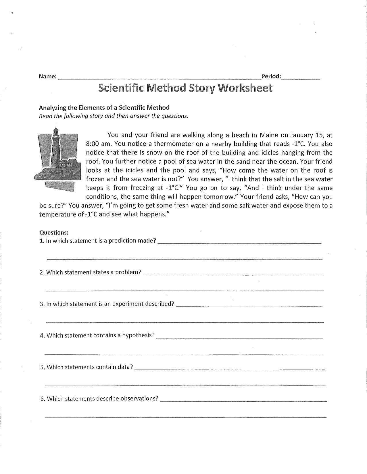 Scientific Method Story Worksheet Worksheet Story