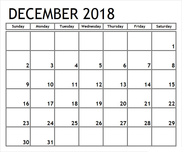 Monthly Calendar 2018 December 50 December 2018 Calendar