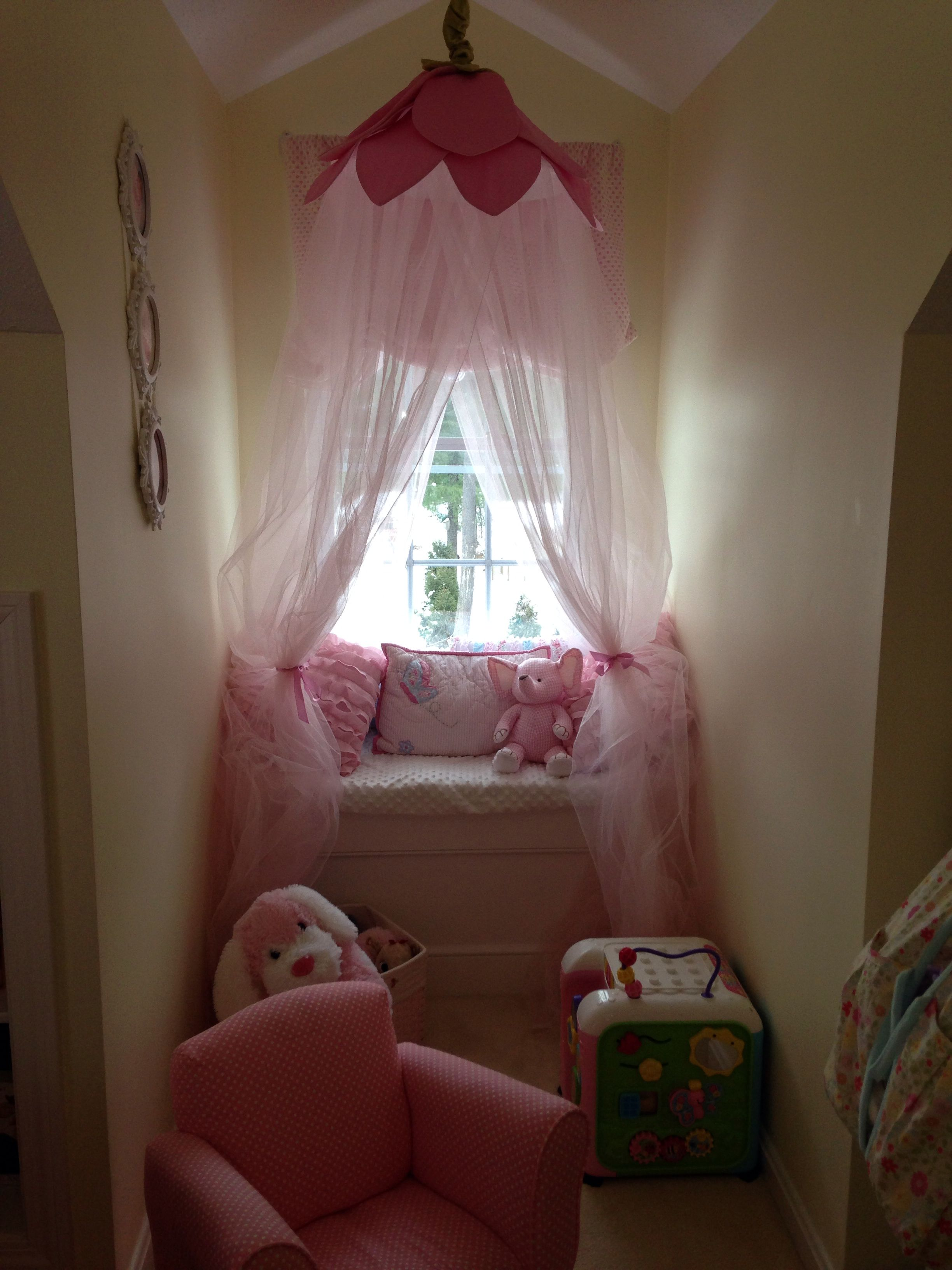 Dormer Window Seat With Canopy And Built In Toy Box