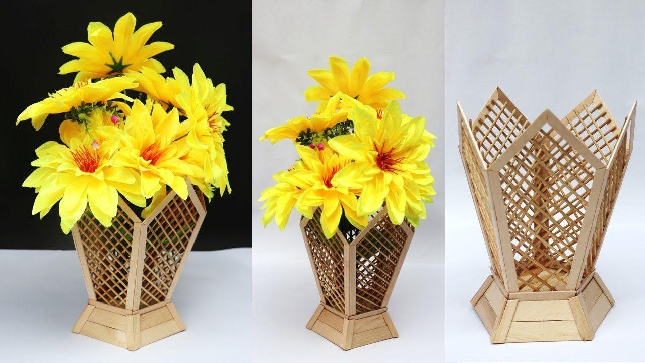 Diy Flower Vase Ice Cream Stick Craft Idea Handmade Flower