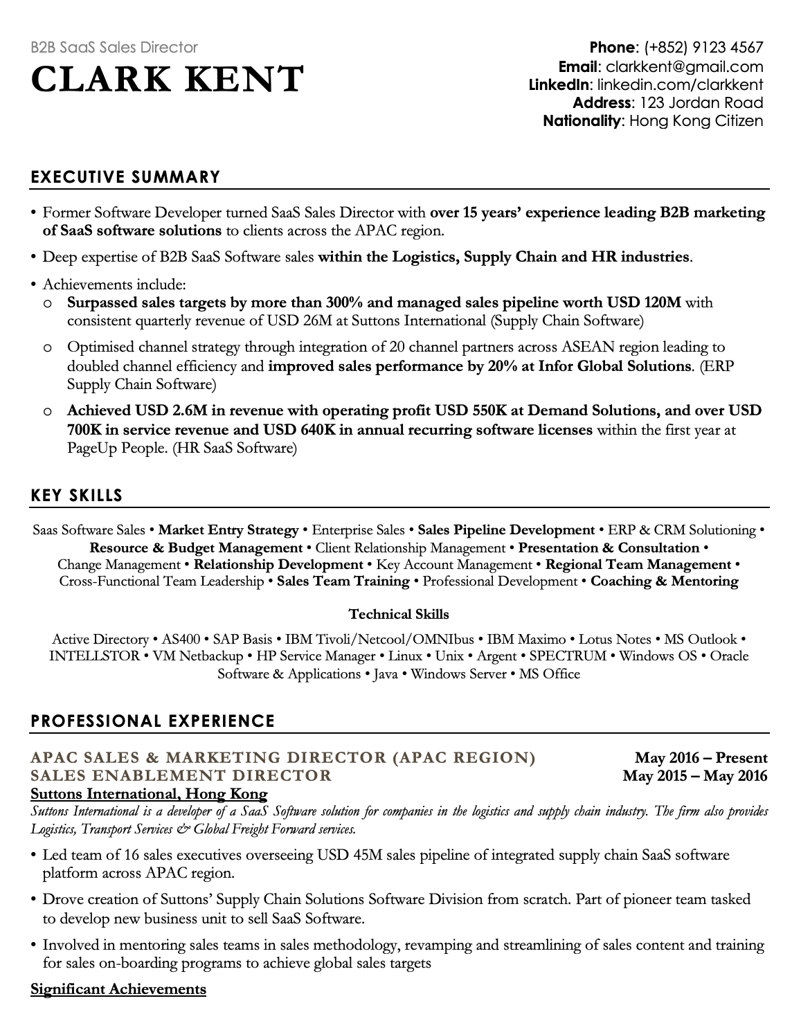 Professional Black CV Template Resume Template Hong Kong