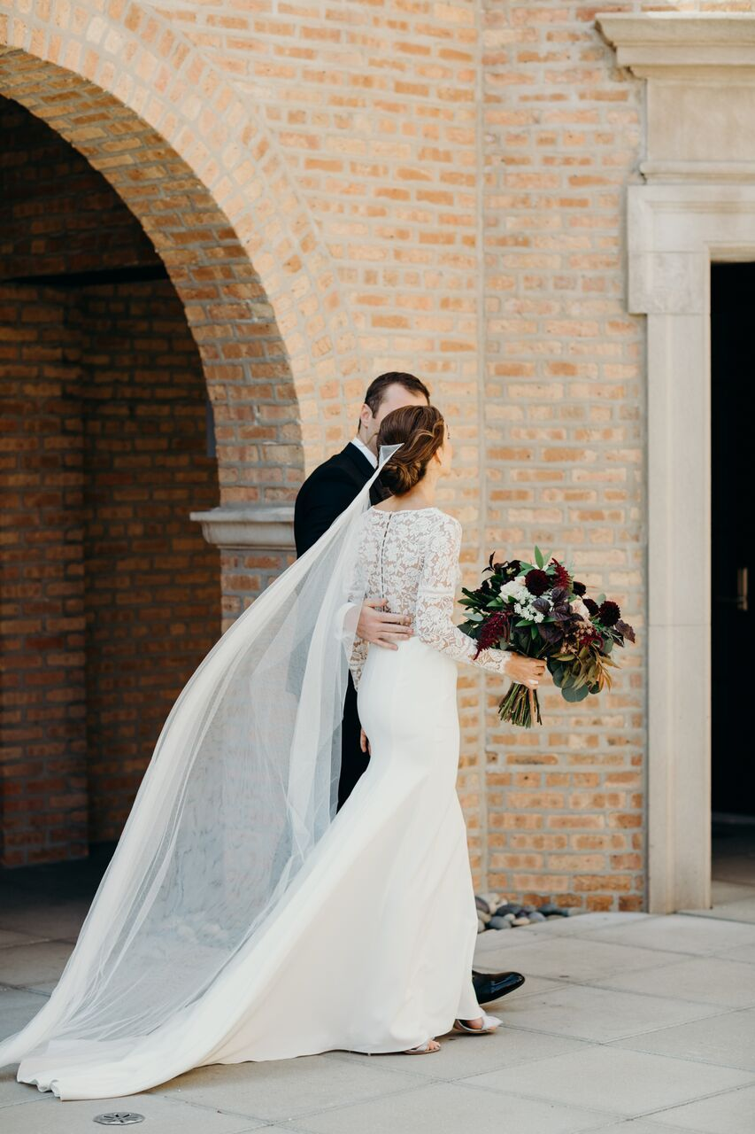 Stunning Bridal Gown With Lace Back Cascading Veil At Revel Motor Row In Chicago Illinois Dream Turned Bride Headpiece Bridal Gowns Bridal Hair Accessories