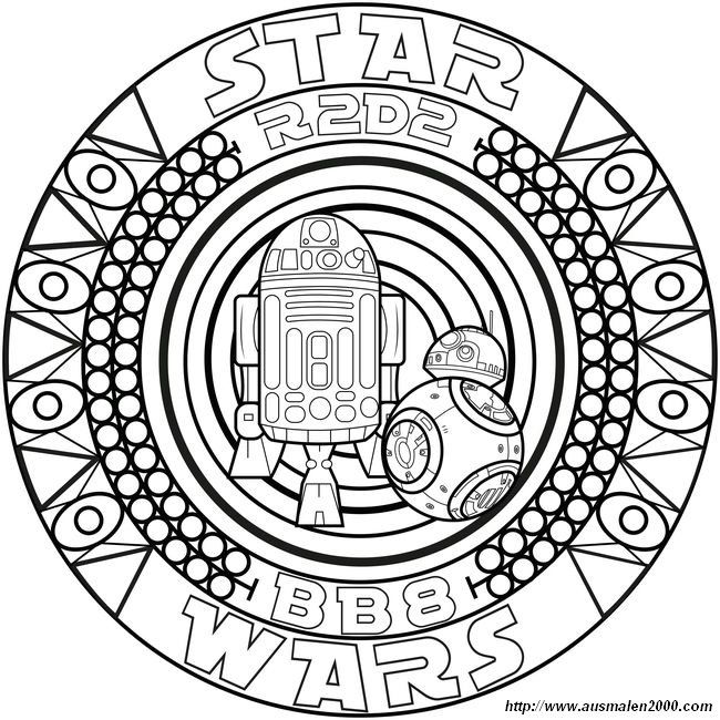 Ausmalbild Star Wars Bb8 Und R2d2 Mandala Malvorlagen Ausmalen Ausmalbilder