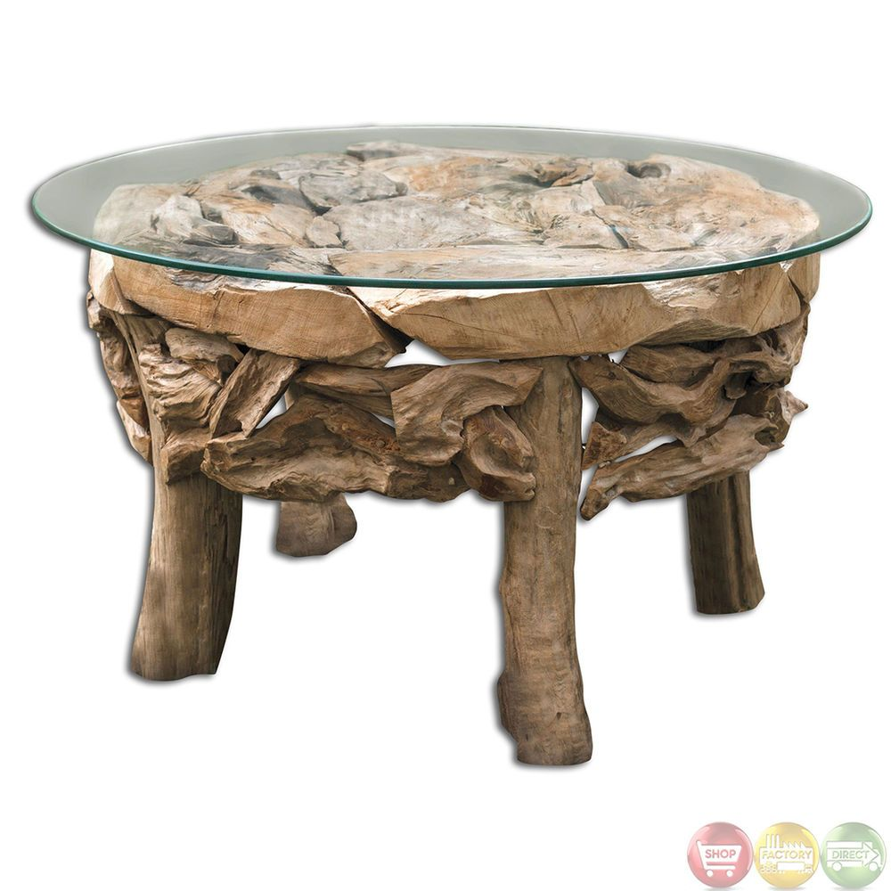 Teak Root Glass Top Beach House Coffee Table 25619 | Round ...
