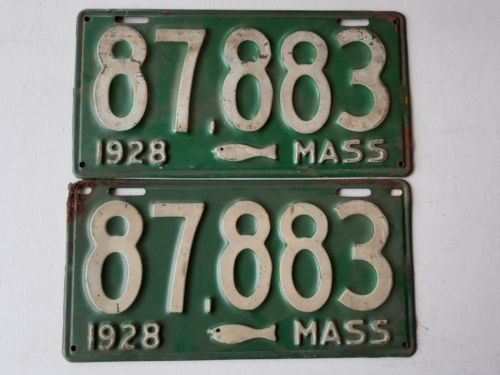 1928 pair massachusetts cod fish license plate pair 87883 for Fishing license ma
