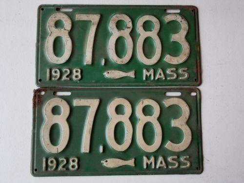 1928 pair massachusetts cod fish license plate pair 87883 for Mass fishing regulations