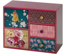 Beautiful mini set of drawers with a bright and vibrant mutli colour pattern.