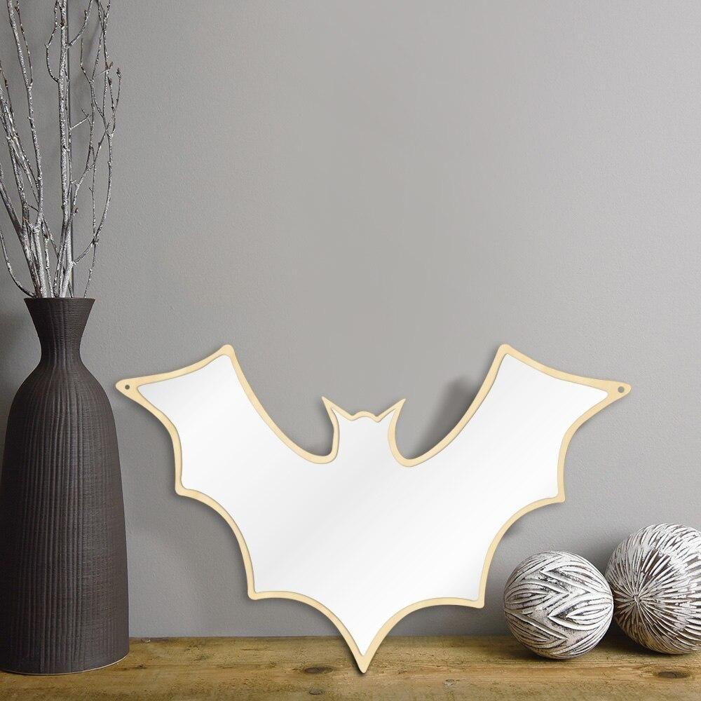 Wooden Back Bat Shaped Wall Mirror