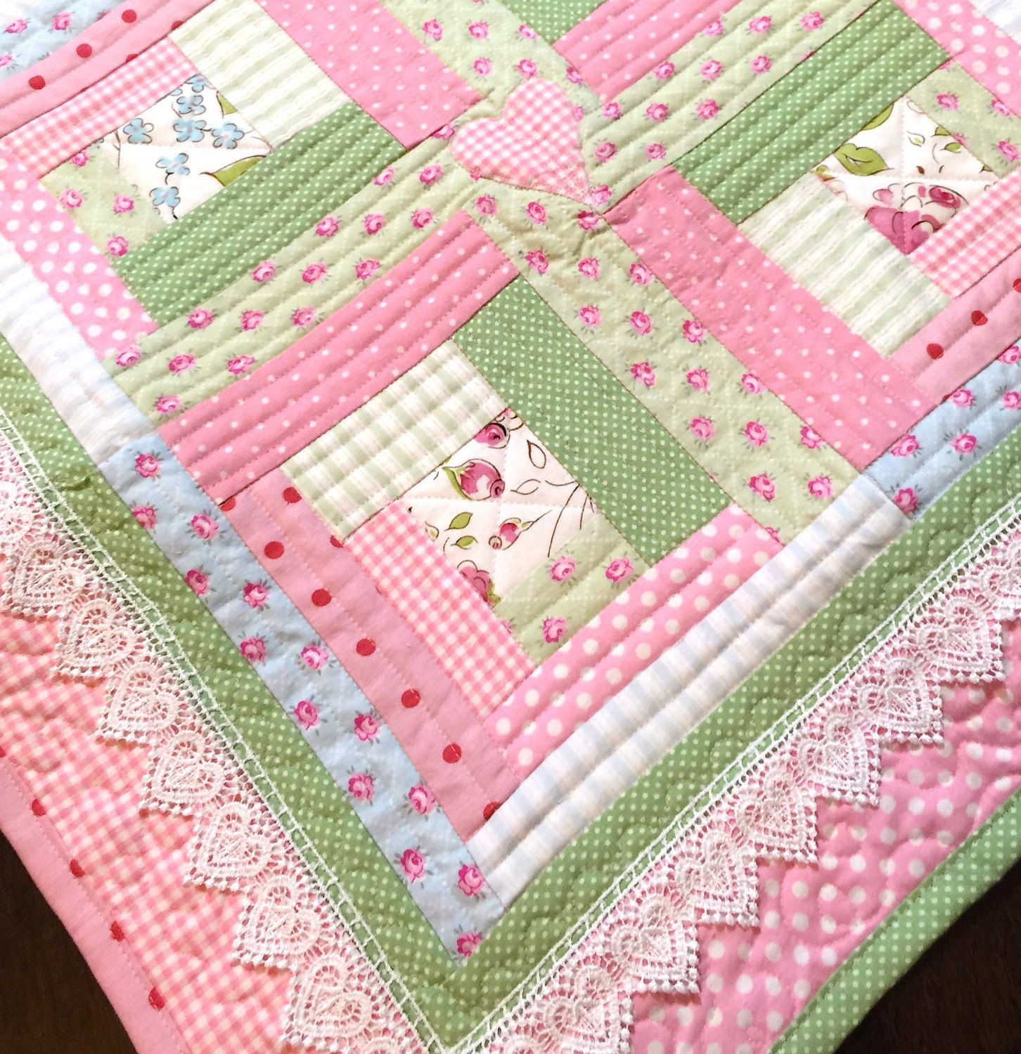 Lace Baby Girl Quilt Modern Baby Quilt Baby By