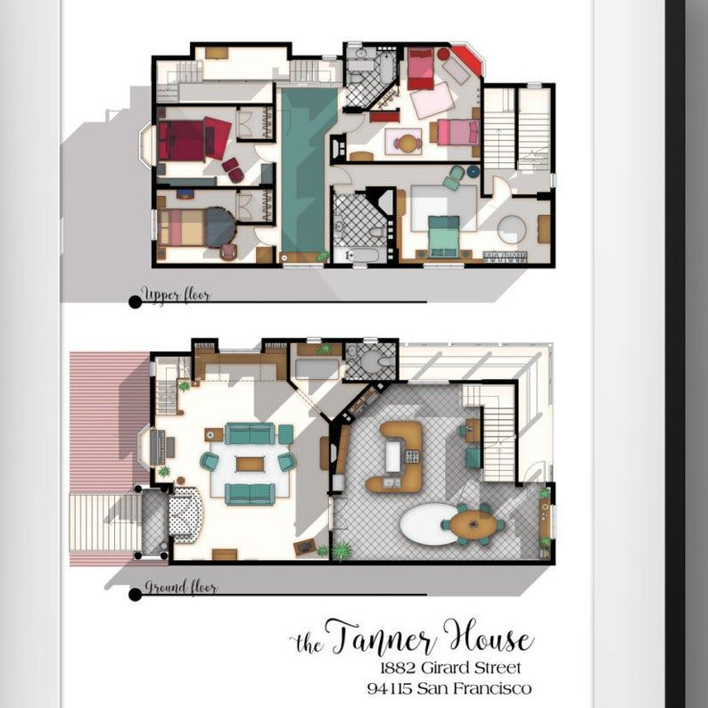 Full House Tv Show Floor Plan Fuller House Tv Show Layout The Tanner House Floor Plan House From Full House Gift Idea For Full House Fan House Floor Plans Full House