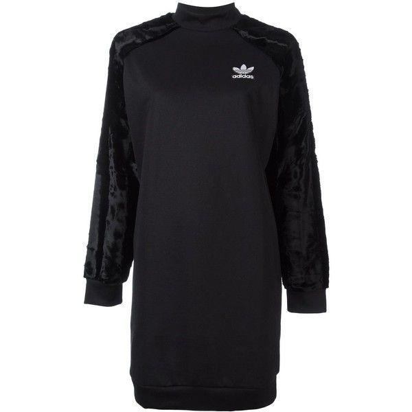 Adidas Originals velour sleeve sweatshirt dress found on Polyvore featuring dresses, black, sleeved dresses, long length dresses, embroidered dress, sweatshirt dress and velour dress