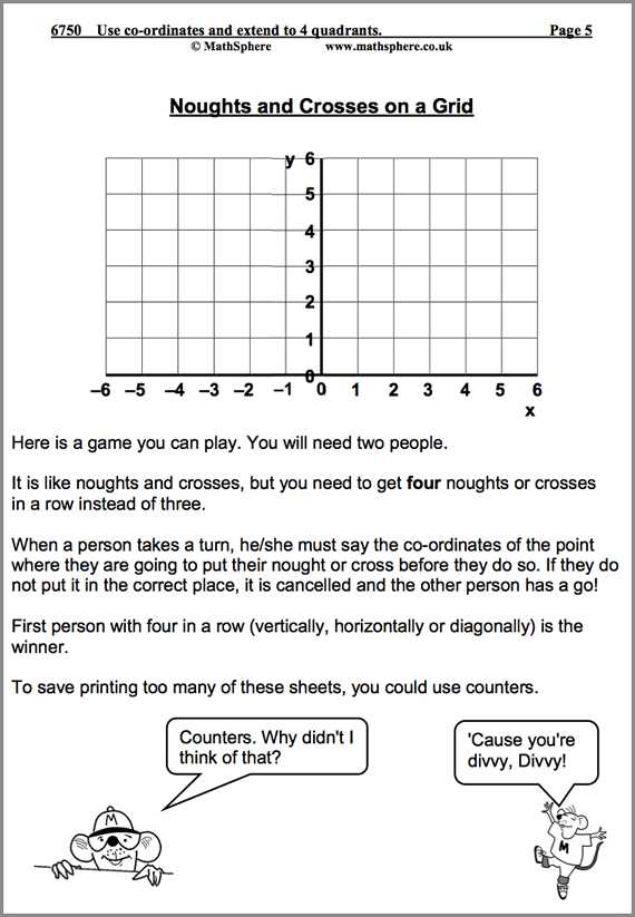 Use Co Ordinates and Extend into 4 Quadrants Maths Worksheet