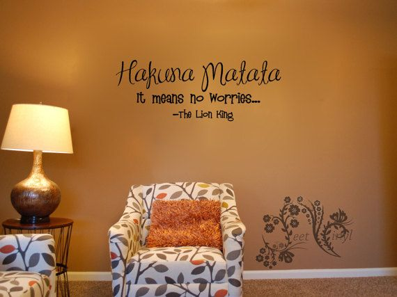 Hakuna Matata It Means No Worries The Lion King Wall Decals Vinyl Movie Quote Decal Saying 18 00
