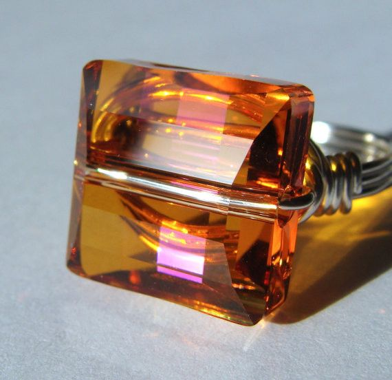 Astral Pink-Square-Swarovski Ring Wire Wrapped in-Sterling Silver