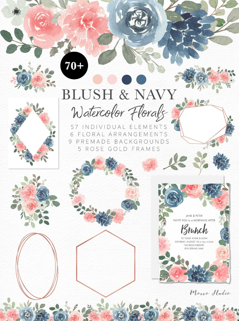 Floral Clipart: pink flowers and blue greenery Graphics PNG Premade Watercolor arrangements Digital Download Commercial Use