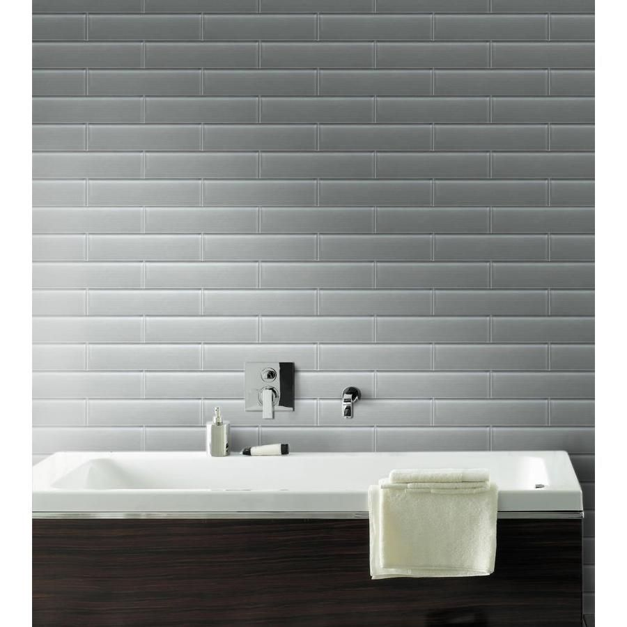 Bestview Grey Linen Polished 3 In X 12 In Glass Subway Tile Common 3 In X 12 In Actual 2 87 In X 11 81 Glass Subway Tile Bathroom Lowes Tile Tile Bathroom