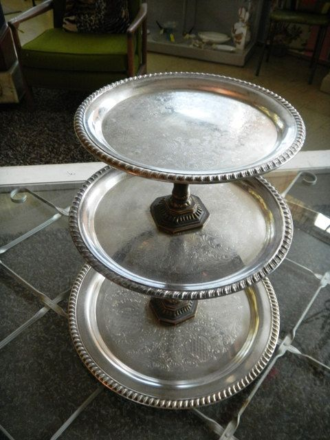 3 Tier Silver Trays That You Can Make Yourself From Hardware Finds Diy Tray Glass Crafts How To Make Diy