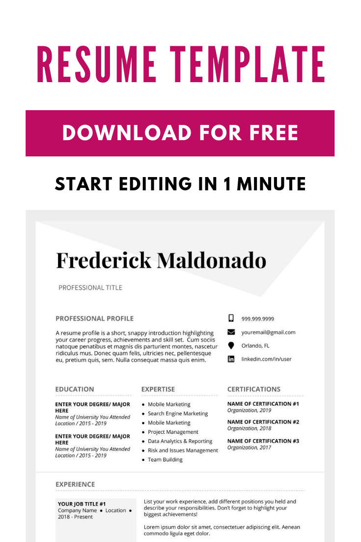 Make your modern resume in 15 minutes. Download free