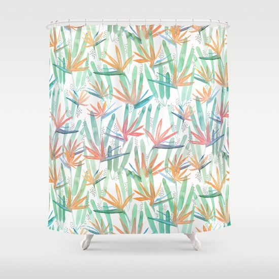 Bird Of Paradise Shower Curtain Birkenstock Curtains Blinds Draping Drapes