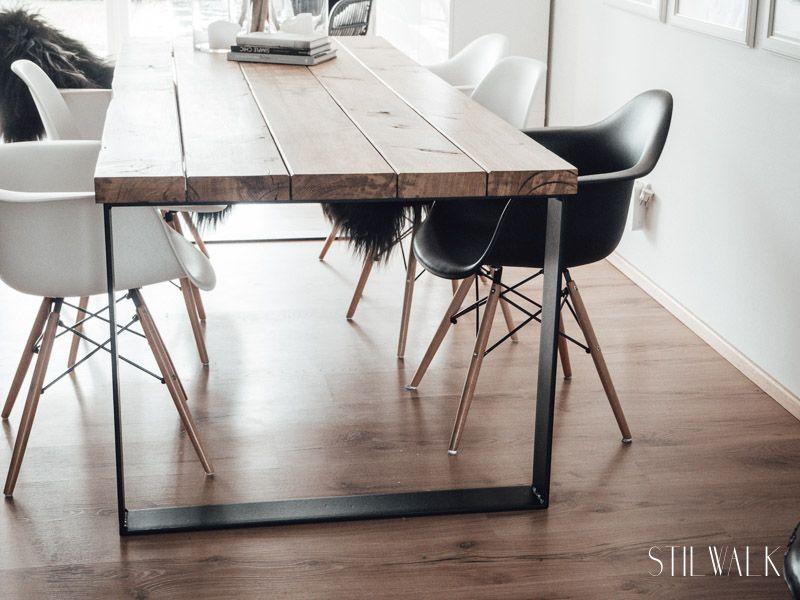 Wir bauen einen Esstisch aus alten Eichenbohlen.   Tisch