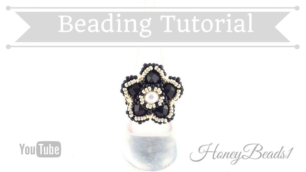 Bling Bling Flower Ring Beading Tutorial by HoneyBeads1