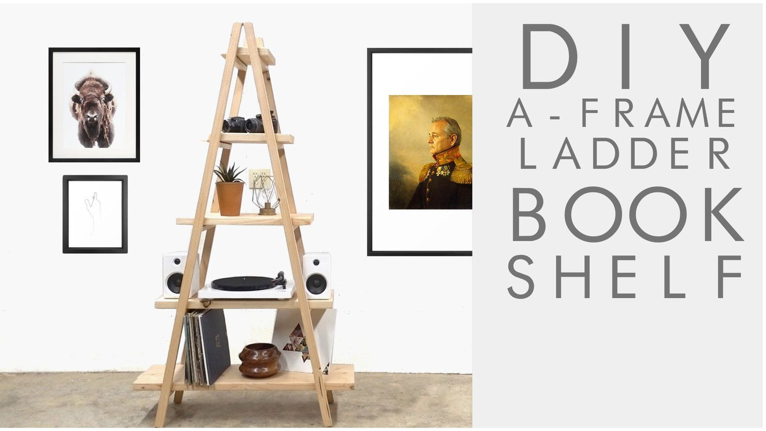How to build a simple A-Frame ladder bookshelf to hold books, a ...