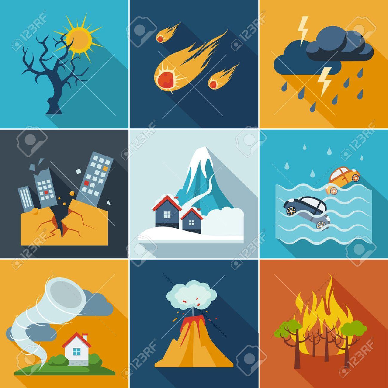Los Desastres Naturales Iconos Fenomenos Establecen Estilo Plano Desastres Naturales Desastre Natural Desastres Naturales Para Ninos