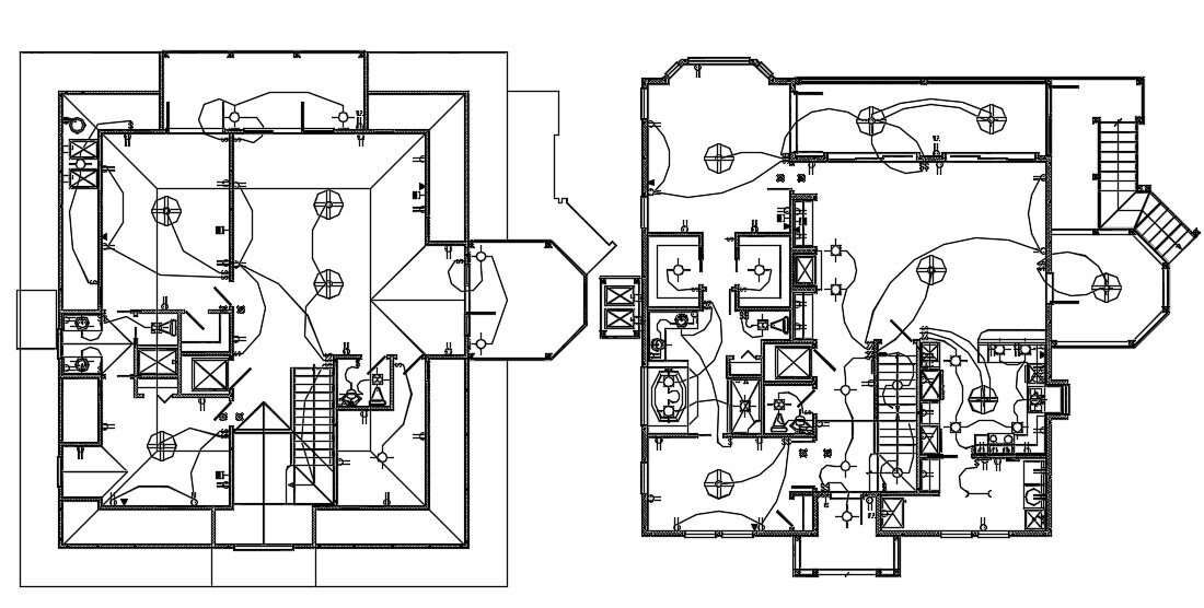 3 BHK House Ground Floor And First Floor Electrical Layout