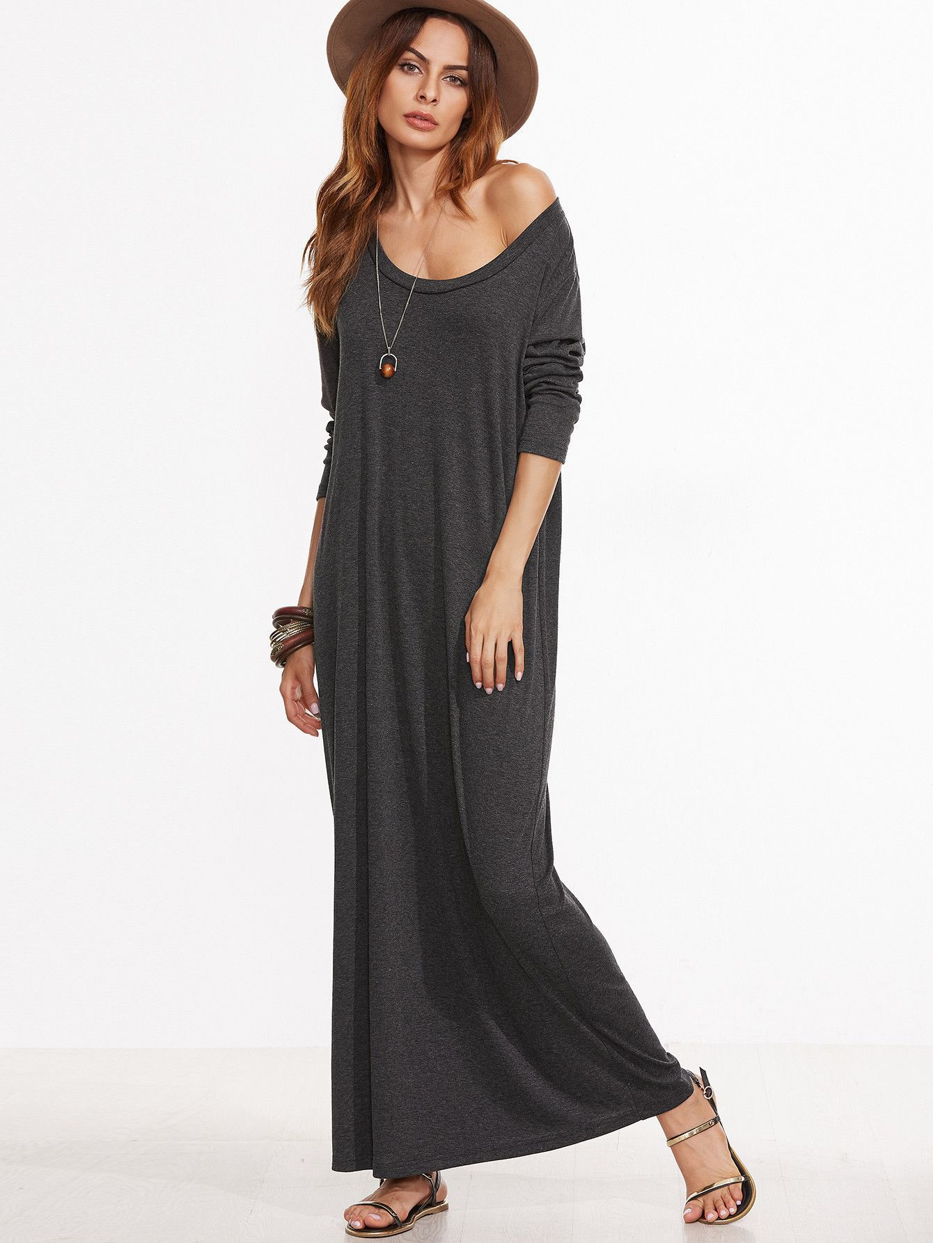 490fdca943b Heather Grey Scoop Neck Maxi Dress